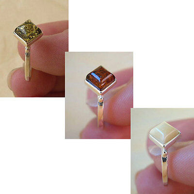 BALTIC GREEN, BUTTERSCOTCH or HONEY AMBER & STERLING SILVER PETITE RING