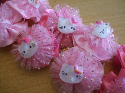 20x cute kitty sparkly girls hair bobbles NEW job lot cat PARTY BAGS resale