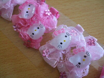 20x cute pink kitty sparkly girls hair clips NEW job lot resale PARTY BAGS cats