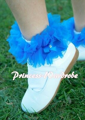 Girl White Petti Sock Stocking Royal Blue Ruffles Accessory For Pettiskirt 2-6Y