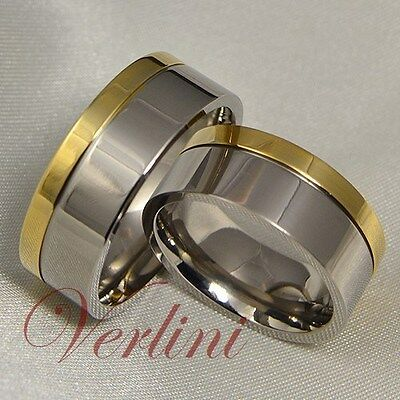 8MM Titanium Rings 14k Gold Wedding Bands Matching Set His & Her Bridal Jewelry