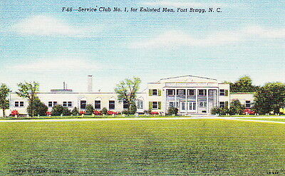 Enlisted Service Club #1 Fort Bragg Nc - Ww2 Vintage Linen Postcard