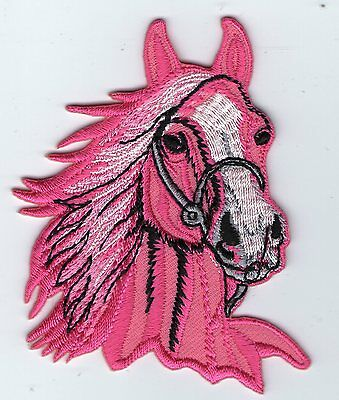 écusson ECUSSON PATCHE THERMOCOLLANT TETE DE CHEVAL ROSE Horse Head Embroidered