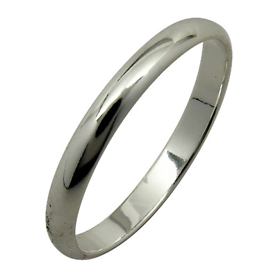 Sterling Silver Plain 2mm Wedding Band Ring Half Round Dome Engagement .925