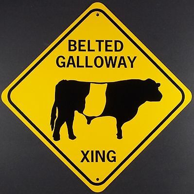 BELTED GALLOWAY XING  Aluminum Cow Sign  Won't rust or fade