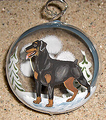 Doberman Natural Ear -Austrian Glass  Ornament  Hand Decorated  Hand blown glass