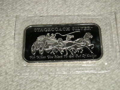 1 Troy Oz Stagecoach .999 Pure Fine Silver Bar! ~ Uncirculated Solid Bullion!!