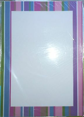 25 Sheets Stripe Pastel Colour Border Stripes Sheer A4 Vellum Papers Invitations