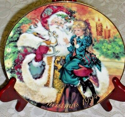 """8"""" AVON Christmas 1994 Collector's Plate THE WONDER OF CHRISTMAS 22k gold trim"""