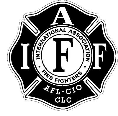 """4"""" IAFF Decal Black and White Trim Exterior Mount"""