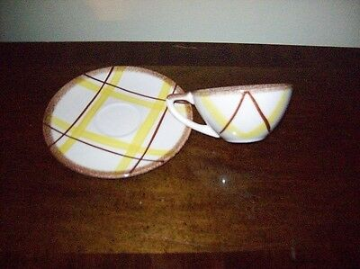 "Knowles ""Plaid Pattern"" Cups & Saucers 5 Sets FREE SHIPPING Very Nice"