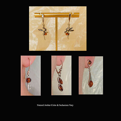 BALTIC HONEY AMBER & STERLING SILVER POST BACK or FRENCH HOOK EARRINGS