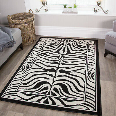 Modern Black Ivory Zebra Animal Print Rug Small Large Rugs Soft Easy Clean Mats