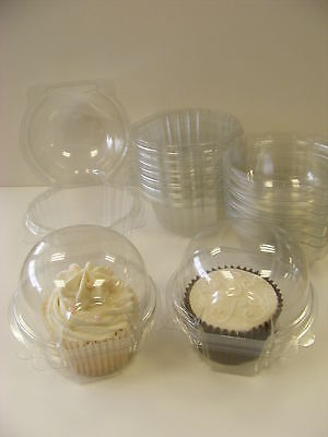 12 x individual clear hinged CUP CAKE / MUFFIN clams pods holders cases boxes