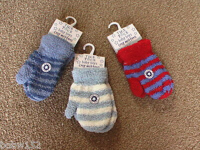 Gorgeous fleecy Baby Boys Winter Warm Soft Cosy Mitten Gloves 1size 3 colours