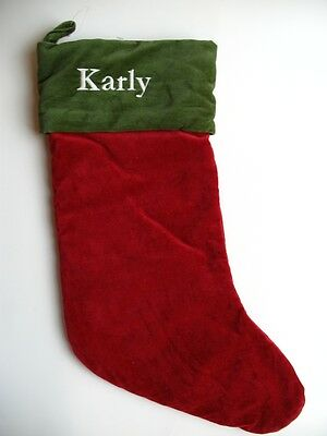 Pottery Barn RED VELVET Green Cuff Christmas Stocking New with the name KARLY