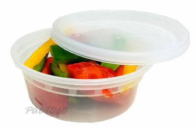 240 Sets - 8 oz. Clear Plastic Soup/Food Containers w/Lids Combo (Microwaveable)