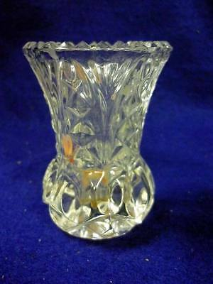 VINTAGE FLINT GLASS TOOTHPICK HOLDER ALMOND THUMBPRINT  FAN VERY HEAVY