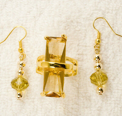 jewelry set ring yellow crystal glass crystal earrings gold t vintage style