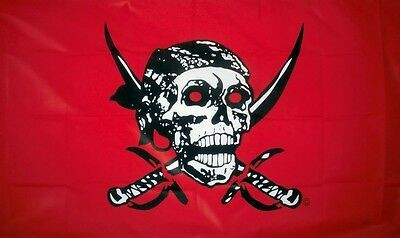 RED PIRATE FLAG Skull & Swords Jolly Roger pirates bucaneer flags 5x3 tree house