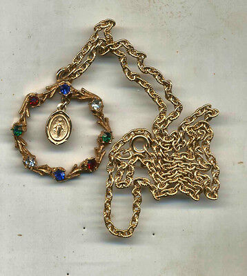 Miraculous Medal in Wreath with Simulated Stones on Chain