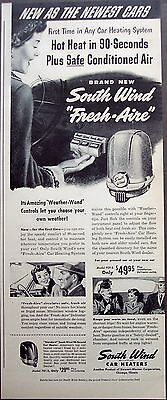 "1949 South Wind ""Fresh Aire"" Car Heating System vintage ad"