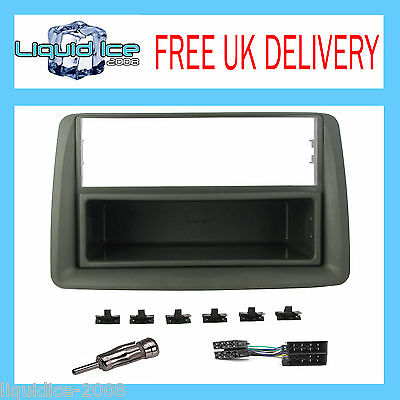 FIAT PANDA GREY SINGLE or DOUBLE DIN FASCIA 2000 to 2006 PANEL ADAPTOR KIT
