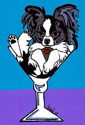 13x19 BLACK PAPILLON Martini Signed Dog Pop Art PRINTof Original Painting VERN