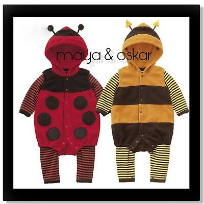 Baby Boys Girls Fleece LADYBIRD BEE Costume Fancy Dress Romper Outfit Carnival