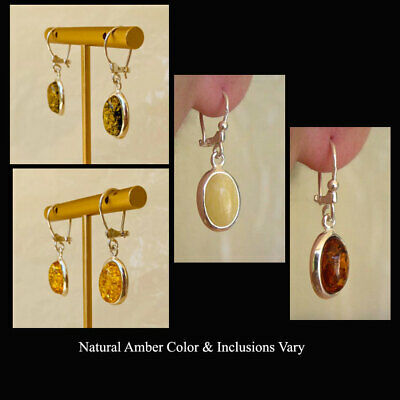 GREEN or WHITE AMBER /& STERLING SILVER EURO HOOK EARRINGS BALTIC HONEY
