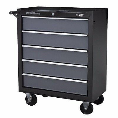 Sealey Heavy Duty Roller Roll Tool Storage Cabinet 5 Drawer Ball Bearing Black