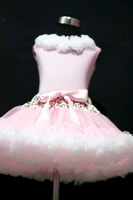 Leopard Waist Pink White Pettiskirt with Pink Pettitop Pure White Rose Set 1-8Y