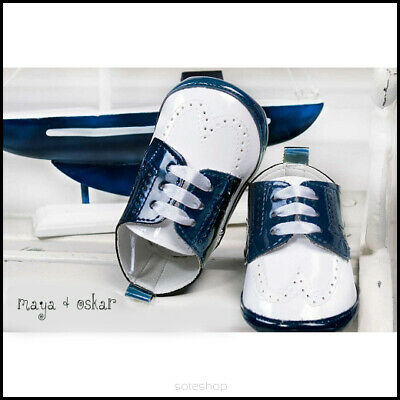Baby Boys Patent Pram Shoes NAVY / WHITE Christening Wedding Formal Party 3-18m