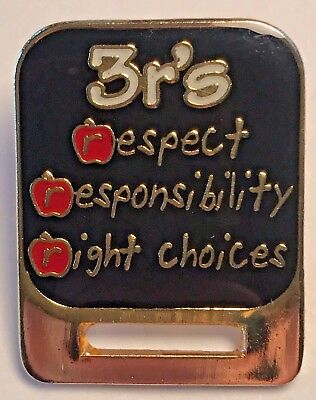"""3r's respect responsibility right choices"" Badge Holder Lapel Pins/25/New!"