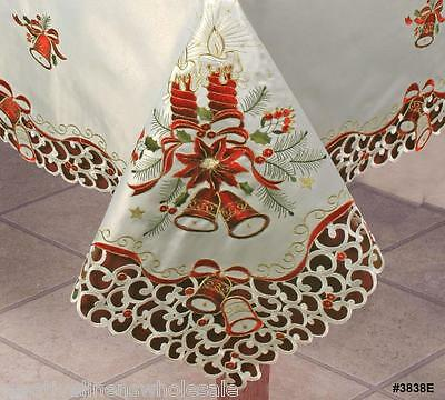 """Christmas Embroidered Bell Poinsettia Candle Tablecloth 70x120"""" +12 Napkins 38E"""