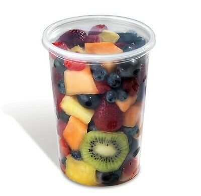 32 oz. Clear Deli Container w/Lid 100 Sets - Round Plastic Food Cup/Lid Combo PK