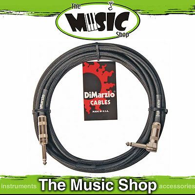 Dimarzio 18ft Pro Guitar Cable Straight - Right Angle Ends - Black Guitar Lead