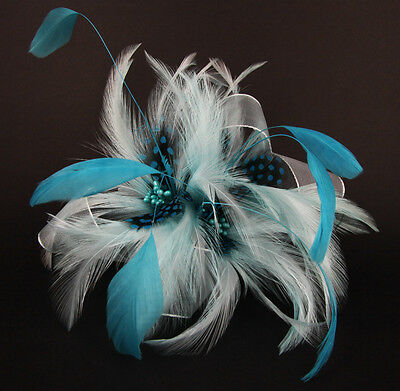 Fascinator Pale Blue Aqua Feathers With Pin & Clip Race Day Bridal Formal