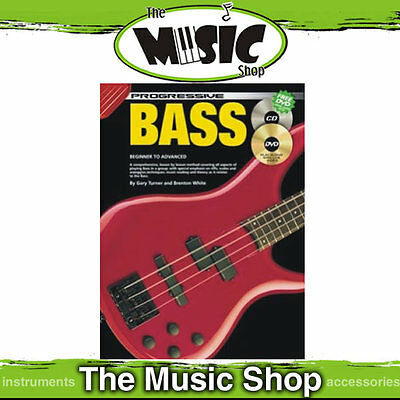 Progressive Bass Guitar Lesson Book with CD & DVD New