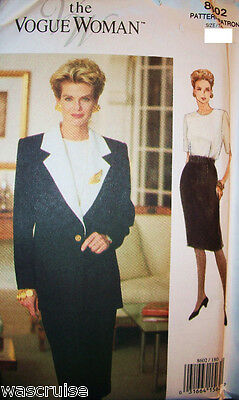 Miss MP UNCUT Vogue Woman Sewing Pattern 8602 Very Easy Jacket Dress Size 6-8-10