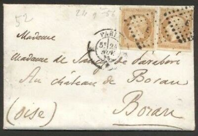 France Internal Cover 1856 w 2 Stamps Not Perfin L@@K