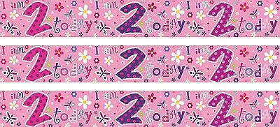 Age 2/ 2Nd Birthday Girl Pink Foil Banners (Se)