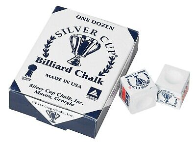 WHITE 1 Box / 12 Pieces Pool/Snooker/Billiard Tables SILVER CUP Cues Tips Chalks