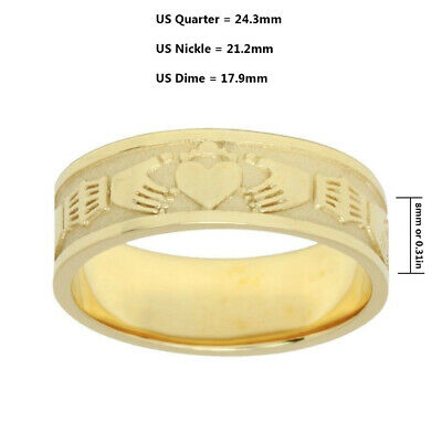 Ladies Sterling Silver or Yellow Gold Irish Celtic Claddagh Wedding Ring Band