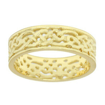 Men's Sterling Silver, Yellow or White Gold Irish Celtic Knot Wedding Ring Band