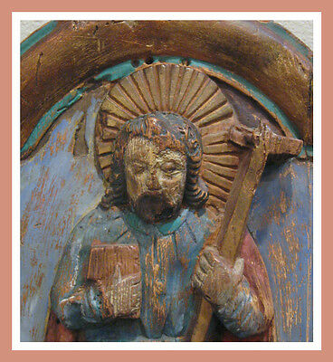 Primitive Folk Art Religious Jesus Santo Panel Wall Decor