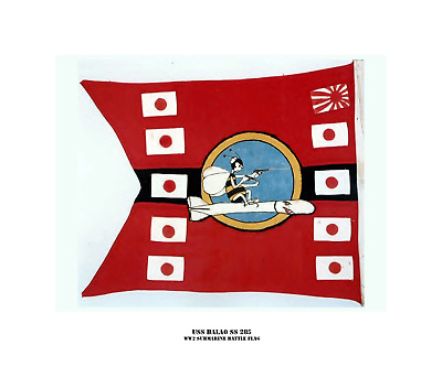 USS BALAO SS 285 --WW2 Submarine Battle Flag, US Naval, Photo Print, USN  Navy