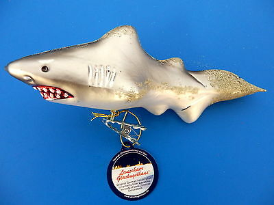 Shark Blown Glass Clip On Christmas Tree Ornament Great White Mako