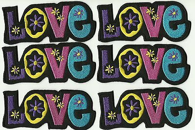"LOT 6 ECUSSON PATCHE THERMOCOLLANT  ""PEACE""  PEACE AND LOVE hippy flowers"