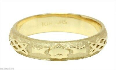 New Ladies Sterling Silver or Yellow Gold Irish Celtic Claddagh Wedding Ring
